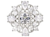 White Cubic Zirconia Rhodium Over Sterling Silver Center Design Ring 8.10ctw