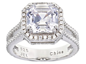 White Cubic Zirconia Rhodium Over Sterling Silver Center Design Asscher Cut Ring 8.50ctw