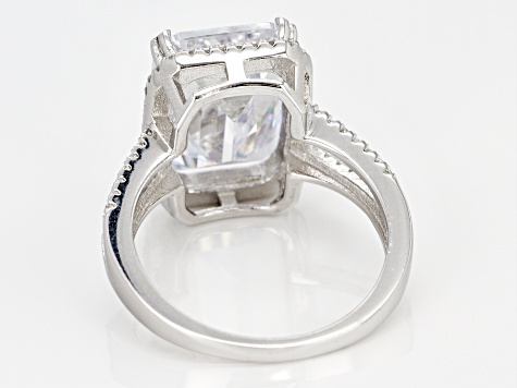 White Cubic Zirconia Rhodium Over Sterling Silver Center Design Ring 10.14ctw