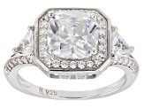 White Cubic Zirconia Rhodium Over Sterling Silver Center Design Ring 4.38ctw