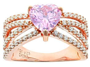Pink & White Cubic Zirconia 18K Rose Gold Over Sterling Silver Center Design Ring 4.22ctw