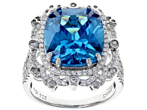 Blue & White Cubic Zirconia Rhodium Over Sterling Silver Center Design Ring 15.86ctw