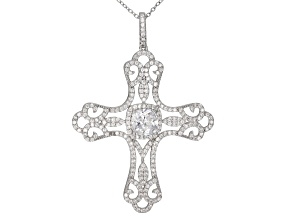White Cubic Zirconia Rhodium Over Sterling Silver Cross Pendant With Chain 4.74ctw