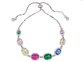 Multicolor Cubic Zirconia Rhodium Over Sterling Silver Adjustable Bracelet 10.10ctw