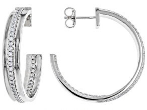 White Cubic Zirconia Rhodium Over Sterling Silver Hoop Earrings 2.10ctw