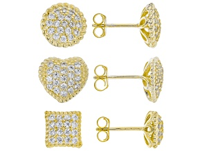White Cubic Zirconia 18K Yellow Gold Over Sterling Silver Earrings Set Of 3 3.00ctw
