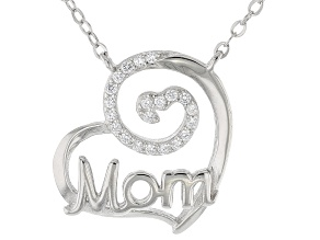 White Cubic Zirconia Rhodium Over Sterling Silver Mom Necklace 0.42ctw