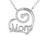 White Cubic Zirconia Rhodium Over Sterling Silver Mom Heart Necklace 0.42ctw