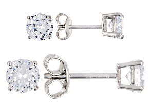 White Cubic Zirconia Rhodium Over Sterling Silver Center Design Earrings Set Of 2 4.75ctw
