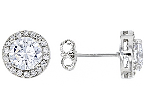 White Cubic Zirconia Rhodium Over Sterling Silver Earrings Set 12.94ctw