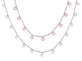 Pink & White Cubic Zirconia Rhodium Over Sterling Silver Necklace 18.90ctw