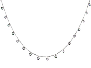 Multi Color Cubic Zirconia Rhodium Over Sterling Silver Necklace 27.45ctw