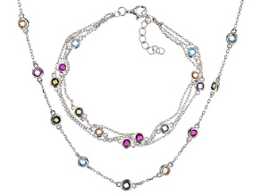 Multicolor Cubic Zirconia Rhodium Over Sterling Silver Multi Strand Bracelet & Necklace Set 8.20ctw