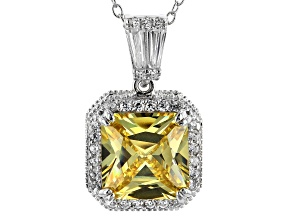 Yellow & White Cubic Zirconia Rhodium Over Sterling Silver Center Design Pendant With Chain