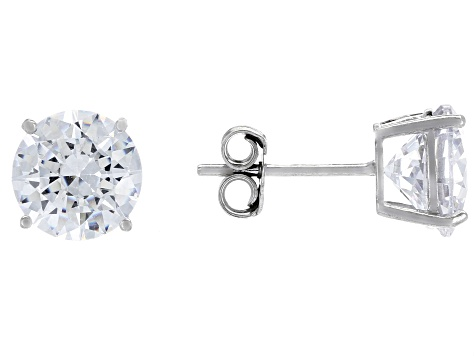 White Cubic Zirconia Rhodium Over Silver Earrings & Pendant With Chain Set 11.05ctw