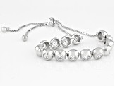 White Cubic Zirconia Rhodium Over Sterling Silver Adjustable Bracelet 6.02CTW