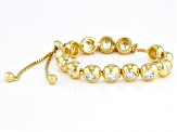 White Cubic Zirconia 18K Yellow Gold Over Sterling Silver Adjustable Bracelet 6.02CTW