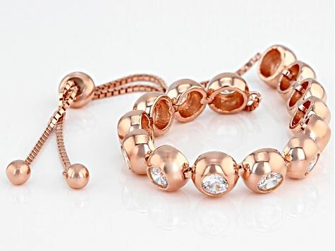 White Cubic Zirconia 18K Rose Gold Over Sterling Silver Adjustable Bracelet 6.02CTW