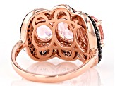Morganite Simulant, Brown, And White Cubic Zirconia 18K Rose Gold Over Sterling Silver Ring 7.80CTW