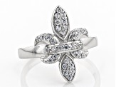 White Cubic Zirconia Rhodium Over Sterling Silver Fleur-de-Lis Ring 0.51ctw