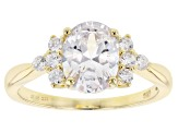 White Cubic Zirconia 18K Yellow Gold Over Sterling Silver Center Design Ring 1.94ctw