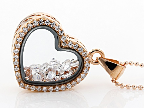White Cubic Zirconia 18K Rose Gold Over Sterling Silver Heart Pendant With Chain 0.84ctw