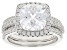 White Cubic Zirconia Rhodium Over Sterling Silver Center Design Ring With Guard 8.05ctw