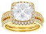 White Cubic Zirconia 18K Yellow Gold Over Sterling Silver Center Design Ring With Band 8.05ctw