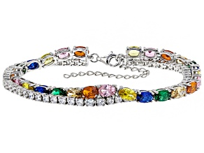 Lab Created Green & Blue Spinel & Multicolor Cubic Zirconia Rhodium Over Silver Bracelet