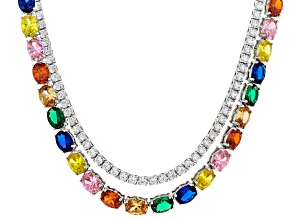 Lab Created Green & Blue Spinel & Multicolor Cubic Zirconia Rhodium Over Silver Necklace 80.90ctw