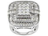White Cubic Zirconia Rhodium Over Sterling Silver Cluster Ring 6.00ctw