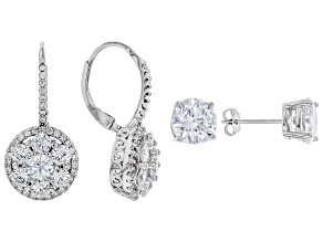 White Cubic Zirconia Rhodium Over Sterling Silver Earrings Set of 2 11.84CTW