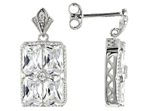 White Cubic Zirconia Rhodium Over Sterling Silver Earrings 7.23ctw