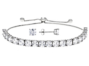 White Cubic Zirconia Rhodium Over Sterling Silver Adjustable Bracelet And Earrings Set 15.56CTW
