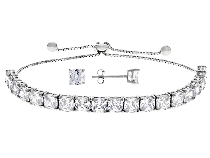 1e3bd617840ad White Cubic Zirconia Rhodium Over Sterling Silver Adjustable Bracelet And  Earrings Set 15.56CTW