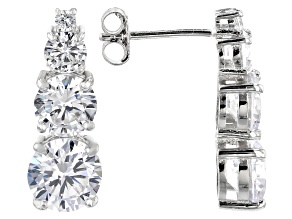 White Cubic Zirconia Rhodium Over Sterling Silver Earrings 8.18CTW