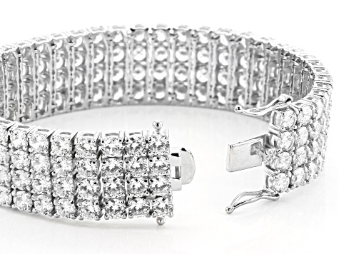 White Cubic Zirconia Rhodium Over Sterling Silver Bracelet 67.08CTW