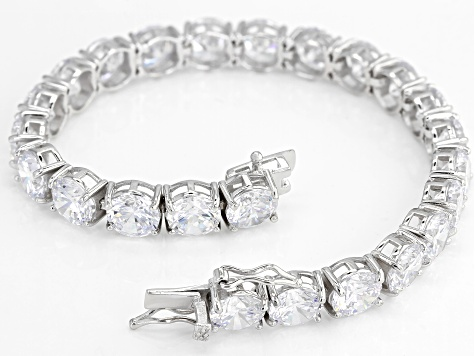 White Cubic Zirconia Rhodium Over Sterling Silver Bracelet 51.55CTW