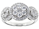 White Cubic Zirconia Rhodium Over Sterling Silver Cluster Ring & Earrings Set 5.44ctw