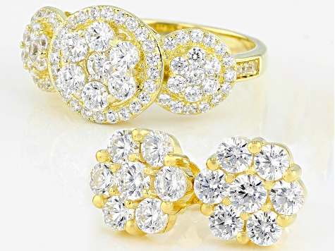 White Cubic Zirconia 18K Yellow Gold Over Sterling Silver Cluster Ring & Earrings Set 5.44ctw