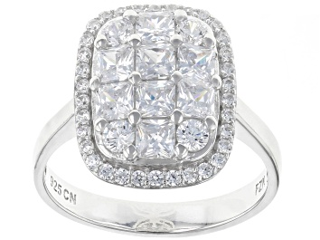 Picture of White Cubic Zirconia Rhodium Over Sterling Silver Cluster Ring 3.03ctw