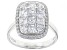 White Cubic Zirconia Rhodium Over Sterling Silver Cluster Ring 3.03ctw