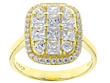 Picture of White Cubic Zirconia 18K Yellow Gold Over Sterling Silver Cluster Ring 3.03ctw