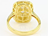 White Cubic Zirconia 18K Yellow Gold Over Sterling Silver Cluster Ring 3.03ctw