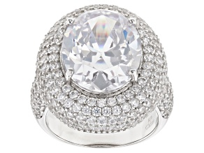 White Cubic Zirconia Rhodium Over Sterling Silver Ring 14.52ctw