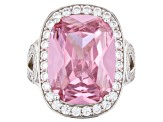 Pink And White Cubic Zirconia Rhodium Over Sterling Silver Ring 7.65ctw