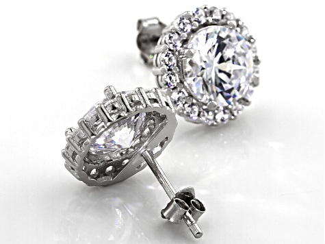 White Cubic Zirconia Rhodium Over Sterling Silver Earrings 8.24ctw