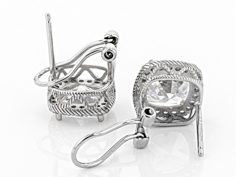 White Cubic Zirconia Rhodium Over Sterling Silver Earrings 9.04ctw