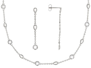 White Cubic Zirconia Rhodium Over Sterling Silver Necklace and Earring Set