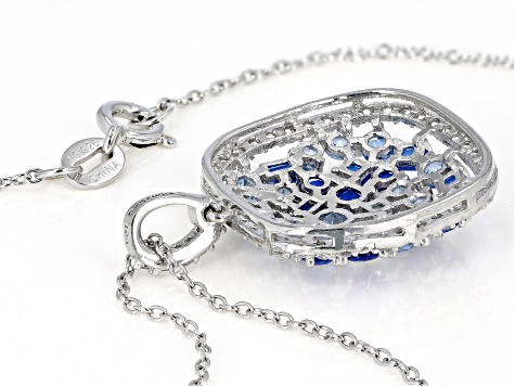 Lab Blue Spinel and Blue and White Cubic Zirconia Rhodium Over Silver Pendant With Chain 8.25ctw